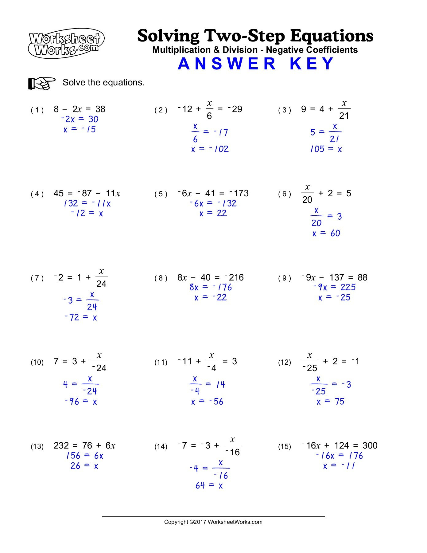 2 Step Equations Worksheet Worksheetworks solving Twostep Equations Hard Pages 1 2