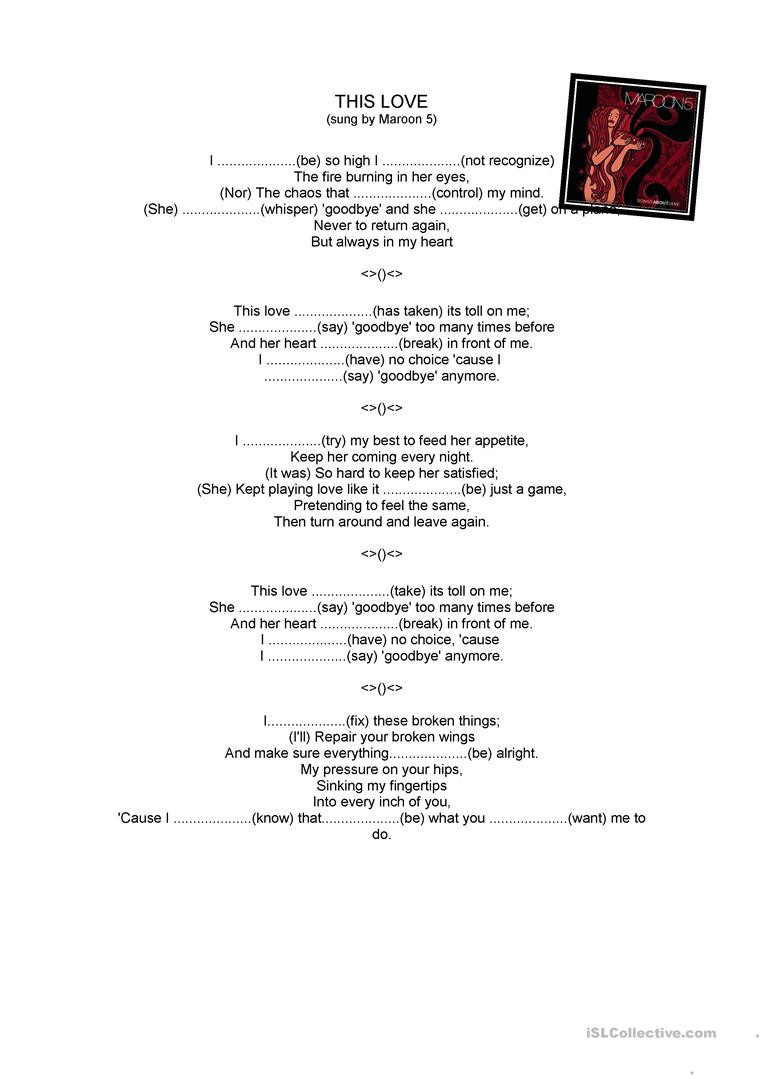 5 Love Languages Worksheet Maroon 5 This Love Gapped Text English Esl Worksheets