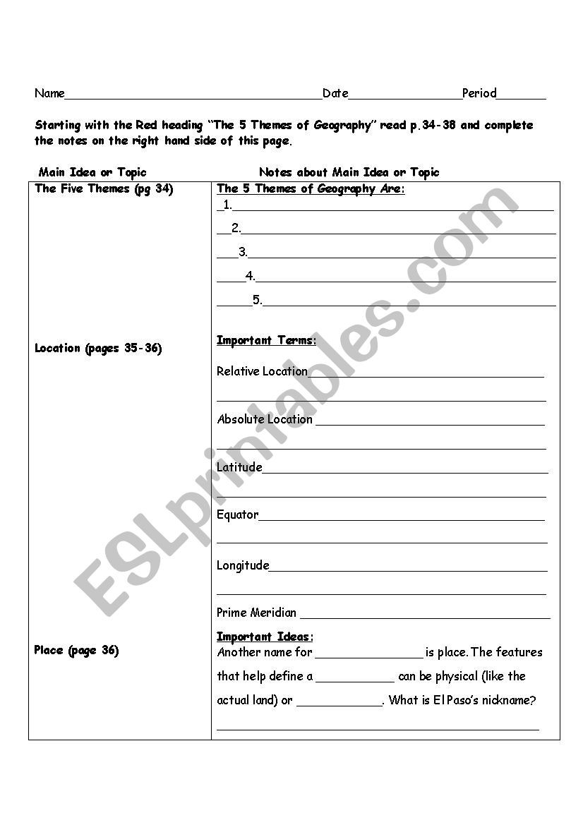 5 themes Of Geography Worksheet 5 themes Of Geography Notes Esl Worksheet by Natalie Hawks