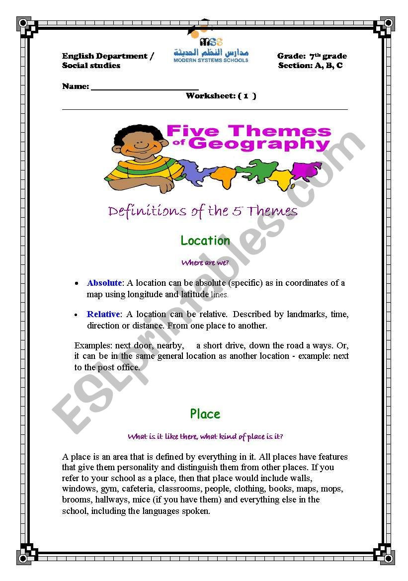 5 themes Of Geography Worksheet English Worksheets the Five themes Of Geography