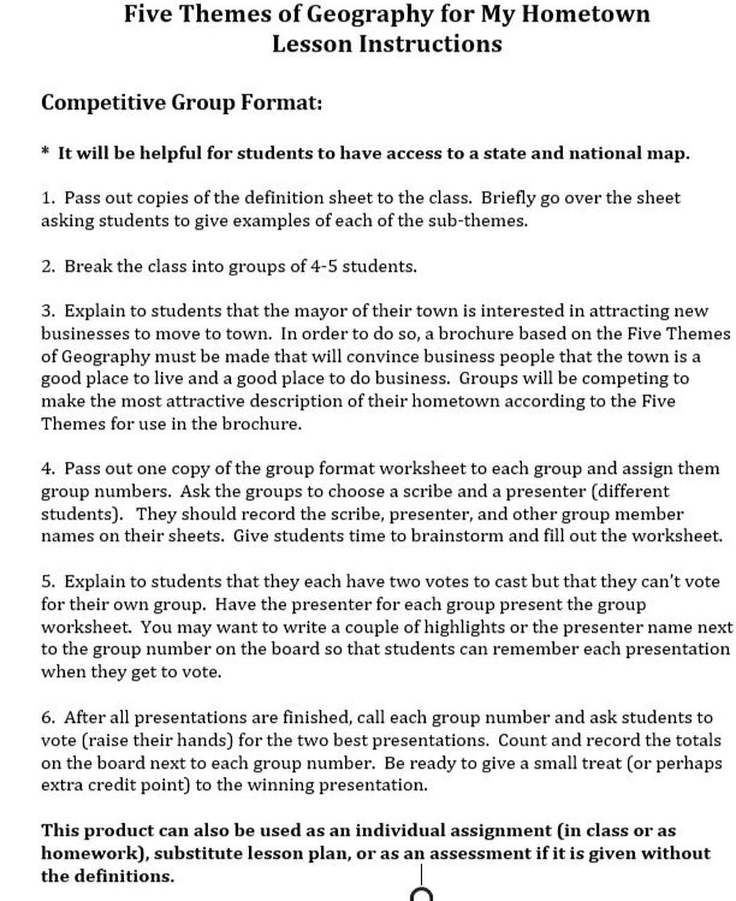 5 themes Of Geography Worksheet Five themes Of Geography for My Hometown