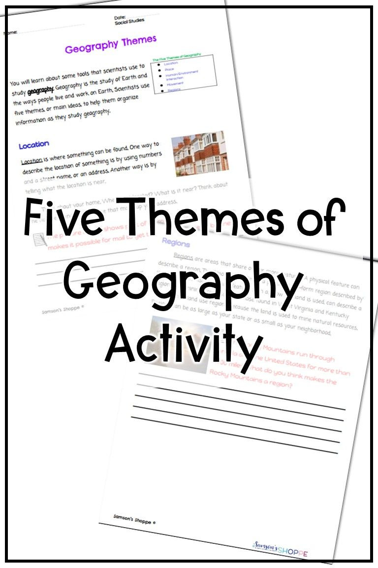 5 themes Of Geography Worksheet Five themes Of Geography