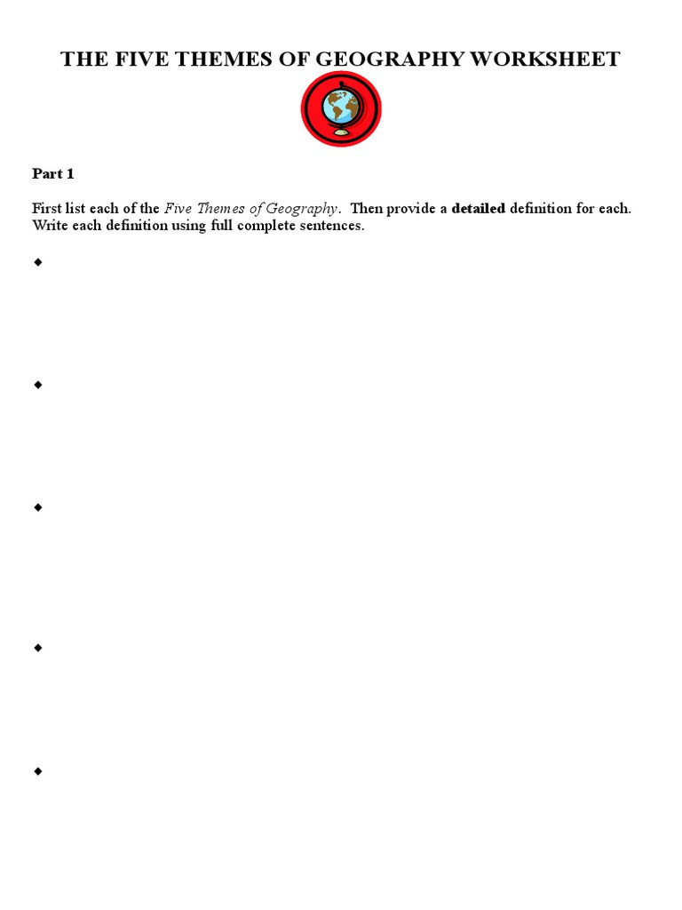 5 themes Of Geography Worksheet the Five themes Of Geography Worksheet 1