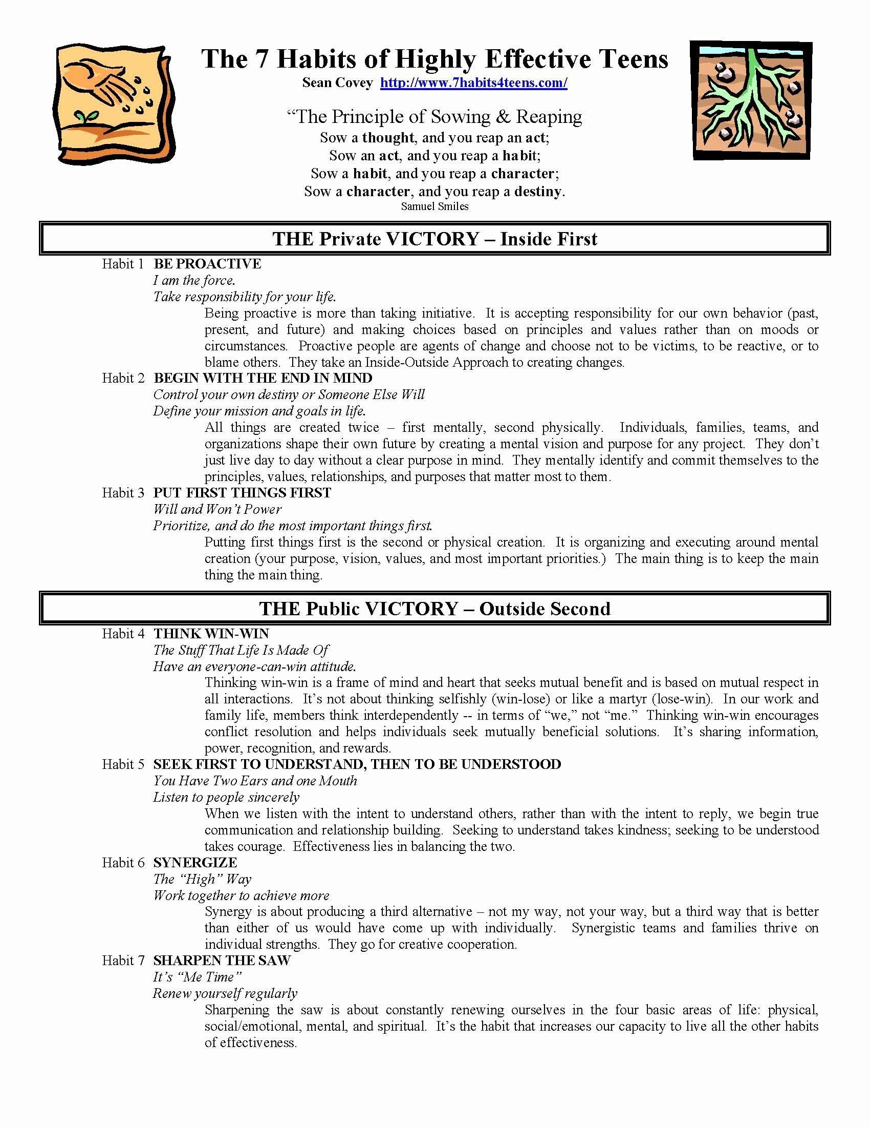 7 Habits Worksheet Pdf 50 7 Habits Worksheet Pdf In 2020