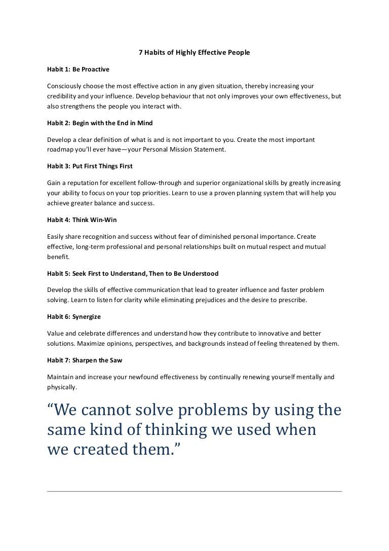 7 Habits Worksheet Pdf 7 Habits Of Highly Effective People Notes