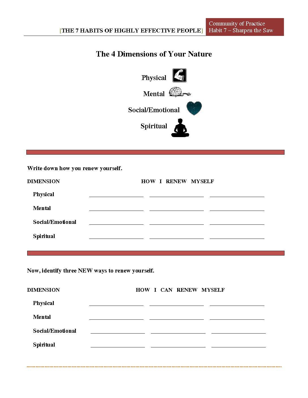 7 habits worksheet pdf