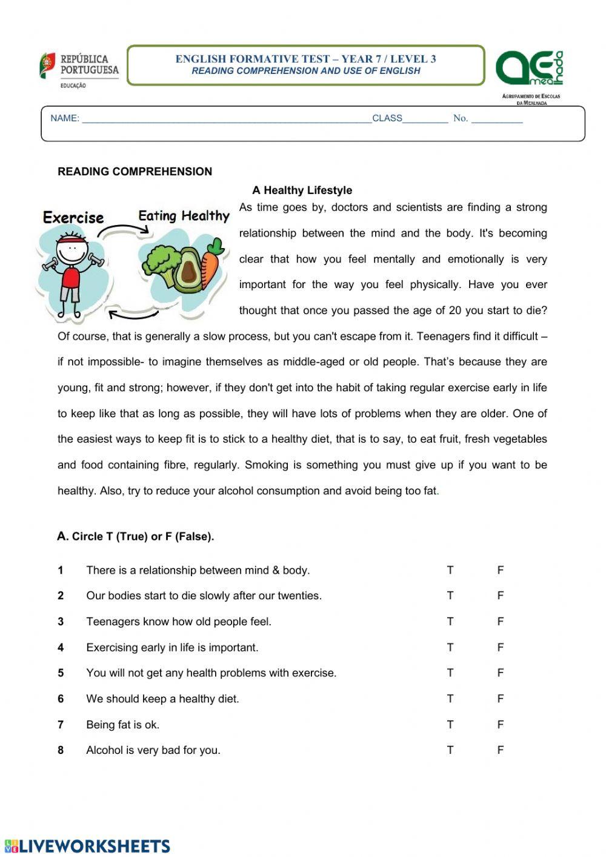 7 Habits Worksheet Pdf A Healthy Lifestyle Interactive Worksheet
