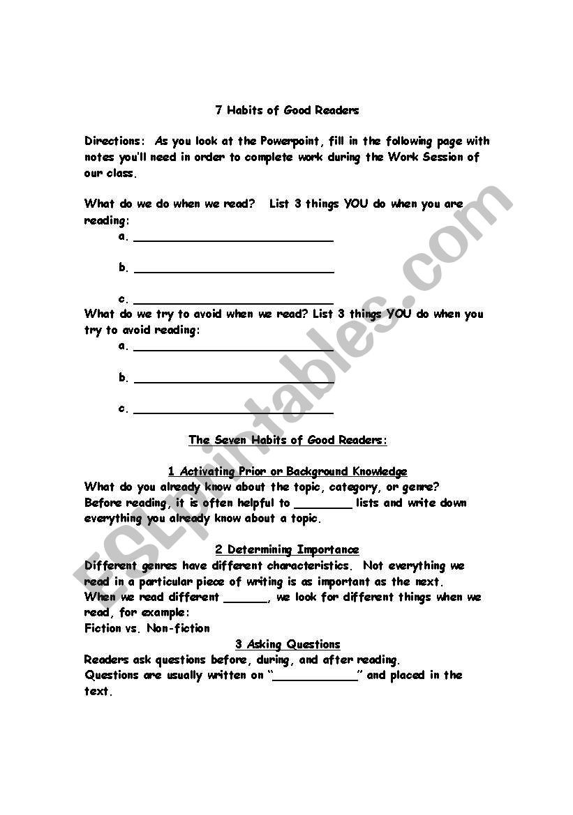 7 Habits Worksheet Pdf English Worksheets 7 Habits Of Good Readers Powerpoint