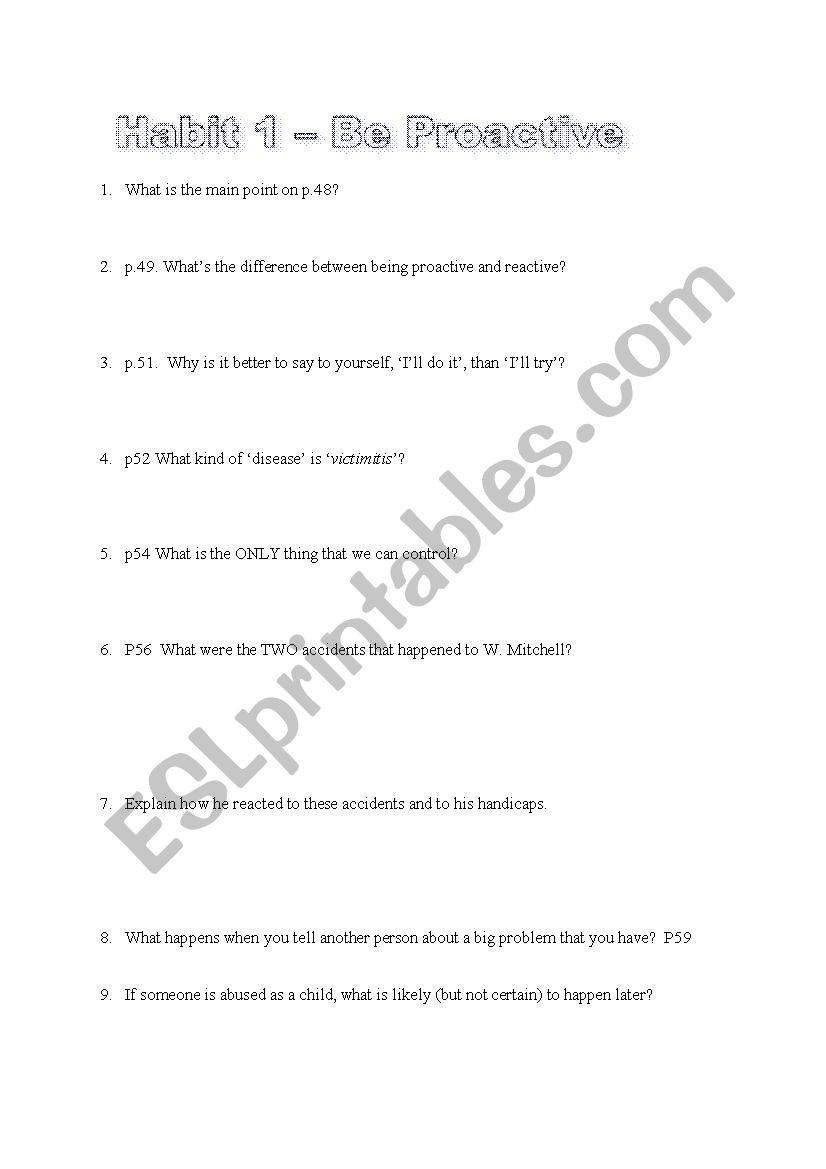 7 Habits Worksheet Pdf the 7 Habits Of Highly Effective Teens Esl Worksheets