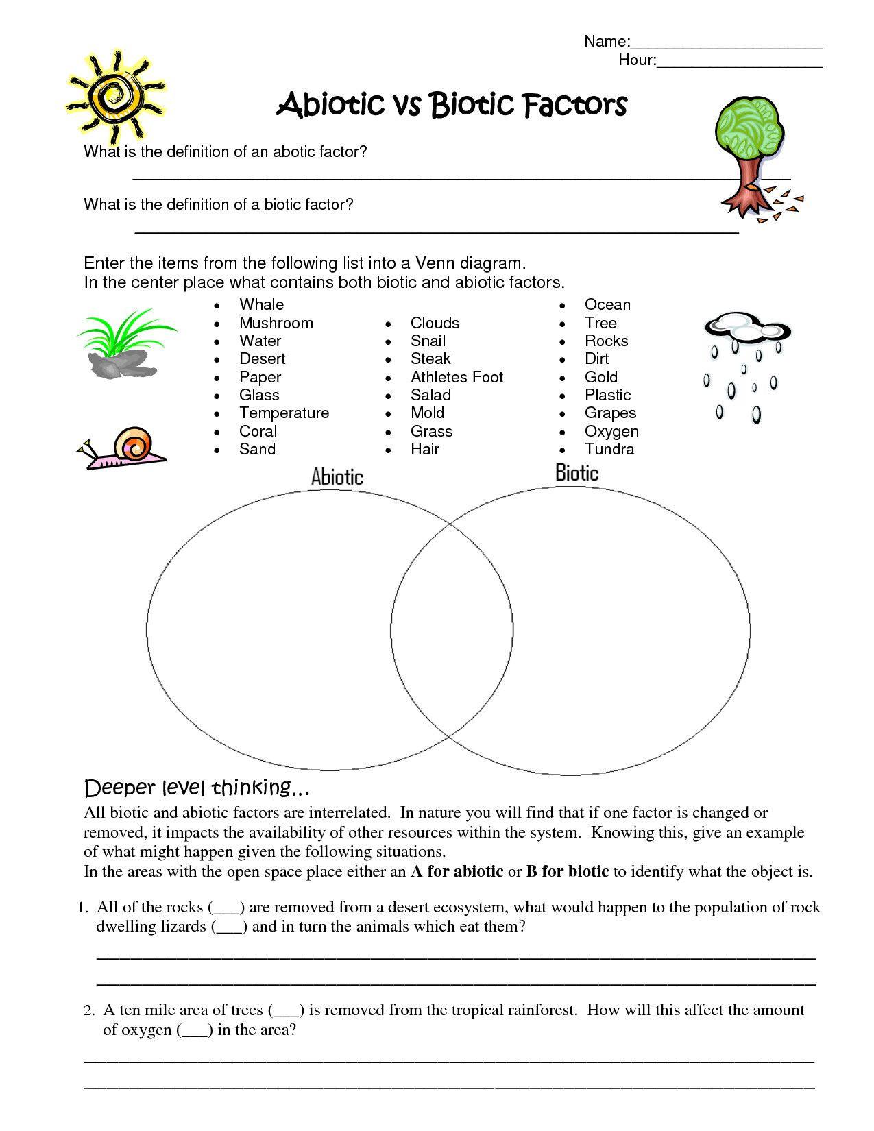 Abiotic and Biotic Factors Worksheet Best Ecosystem Worksheet