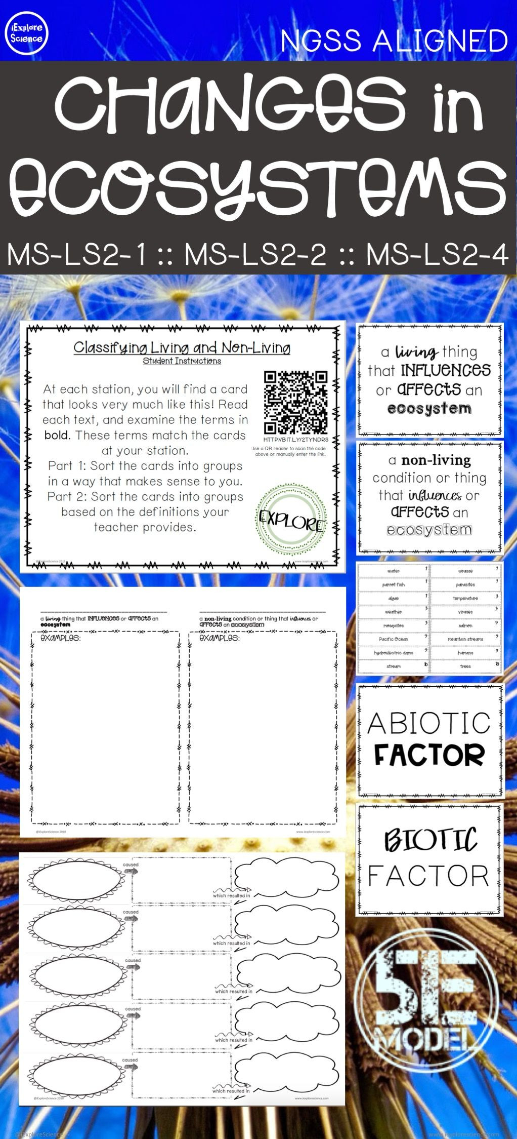 Abiotic and Biotic Factors Worksheet Biotic and Abiotic Factors 5e Activity Bundle Ngss Ms