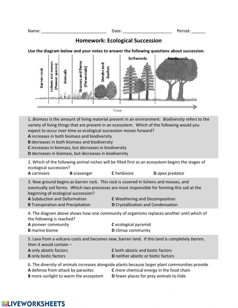 Abiotic and Biotic Factors Worksheet Es Ecological Succession Hw Interactive Worksheet
