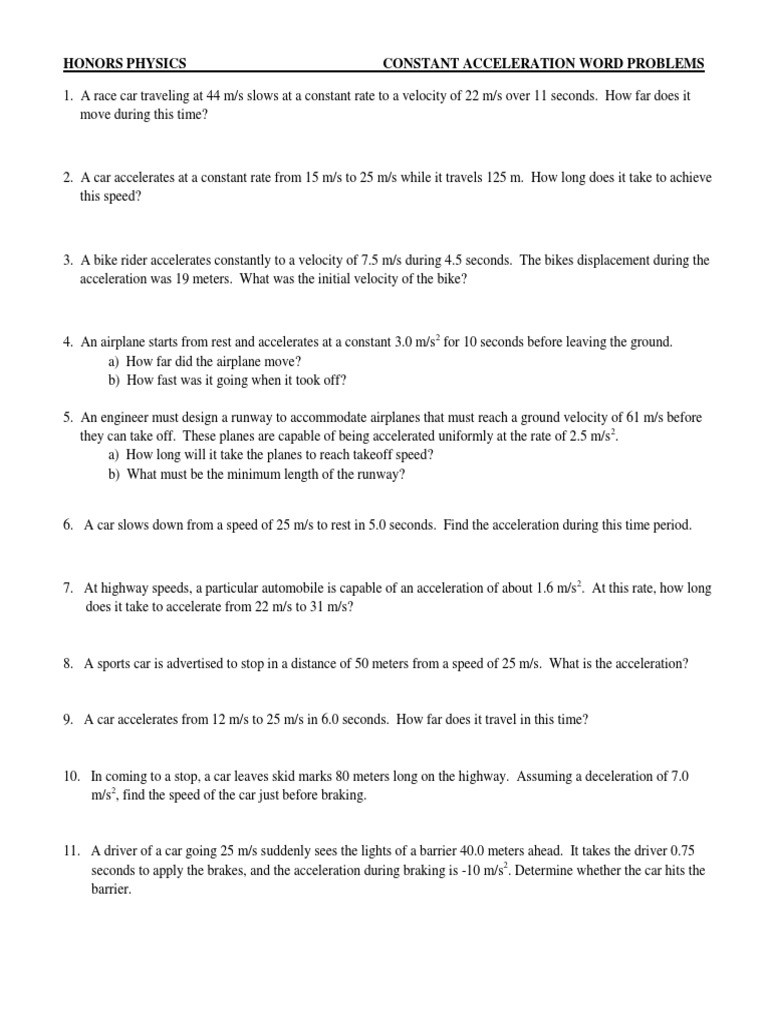 Acceleration Practice Problems Worksheet Constant Acceleration Practice Problems Acceleration