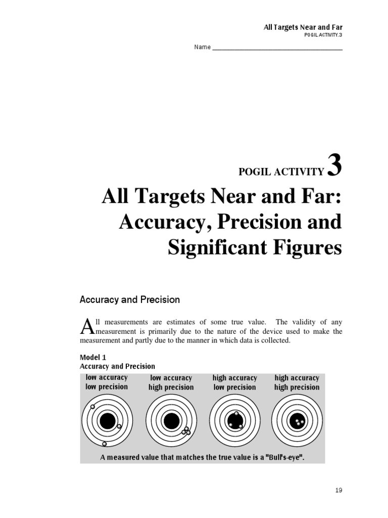 Accuracy and Precision Worksheet Answers Accuracy and Precision Pogil