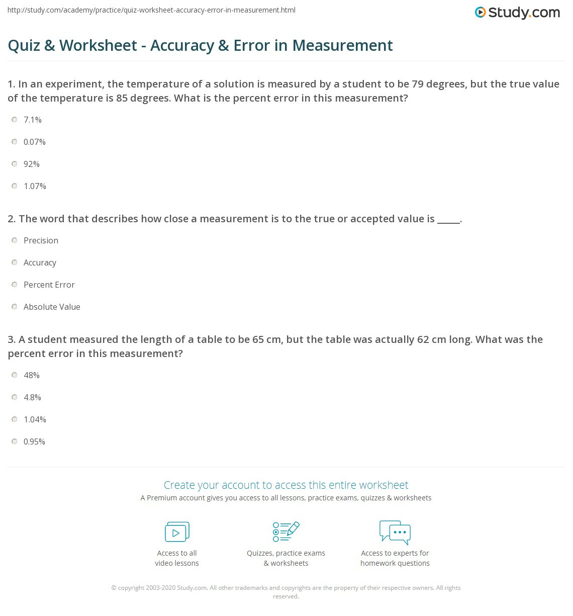 Accuracy and Precision Worksheet Answers Accuracy and Precision Worksheet