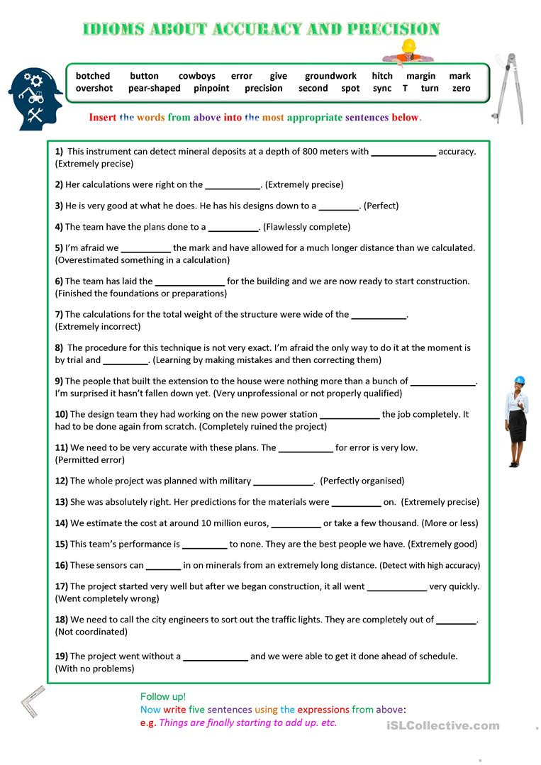 Accuracy and Precision Worksheet Answers Idioms About Accuracy and Precision English Esl Worksheets