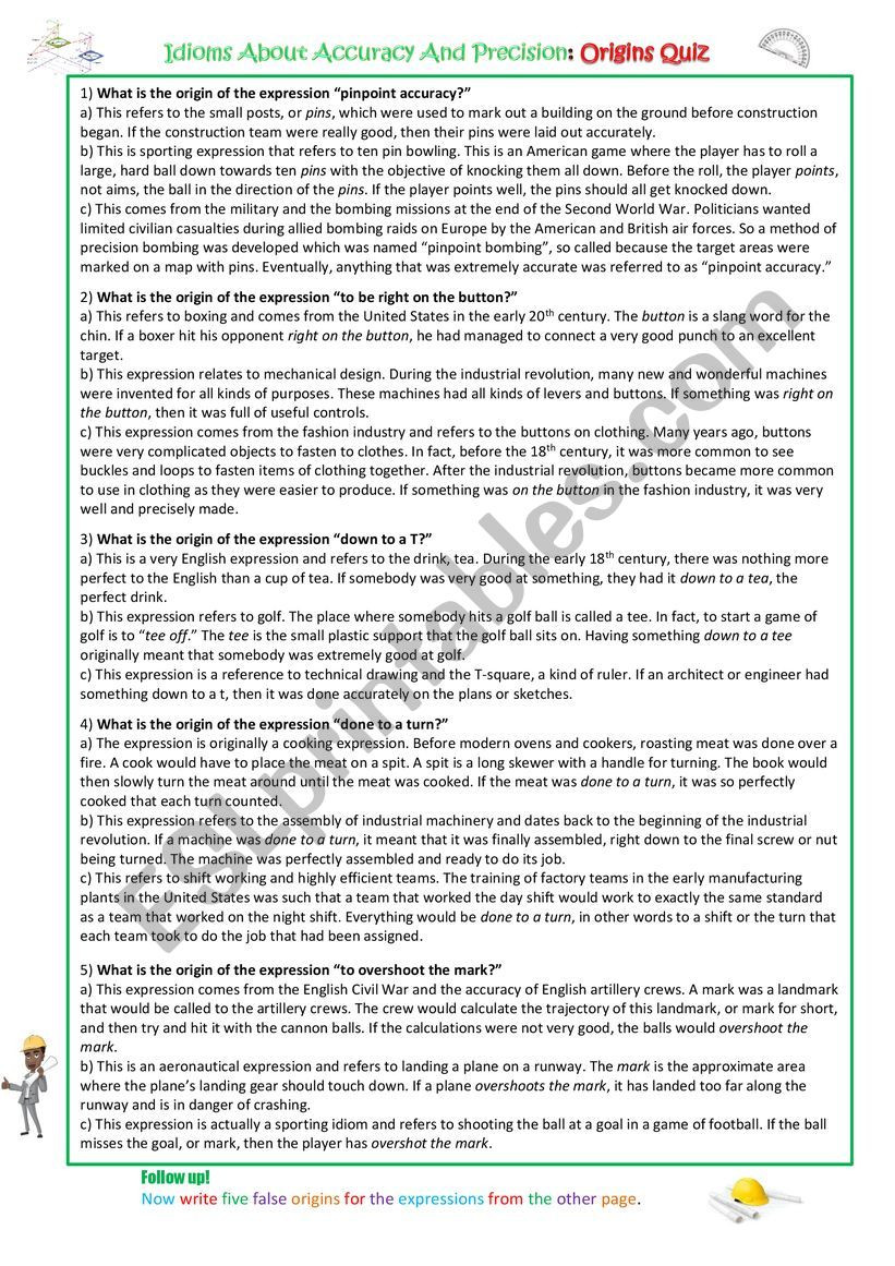 Accuracy and Precision Worksheet Answers Idioms About Accuracy and Precision Esl Worksheet by Spinney