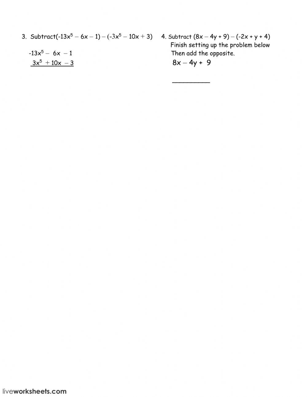 Adding and Subtracting Polynomials Worksheet Subtracting Polynomials Interactive Worksheet