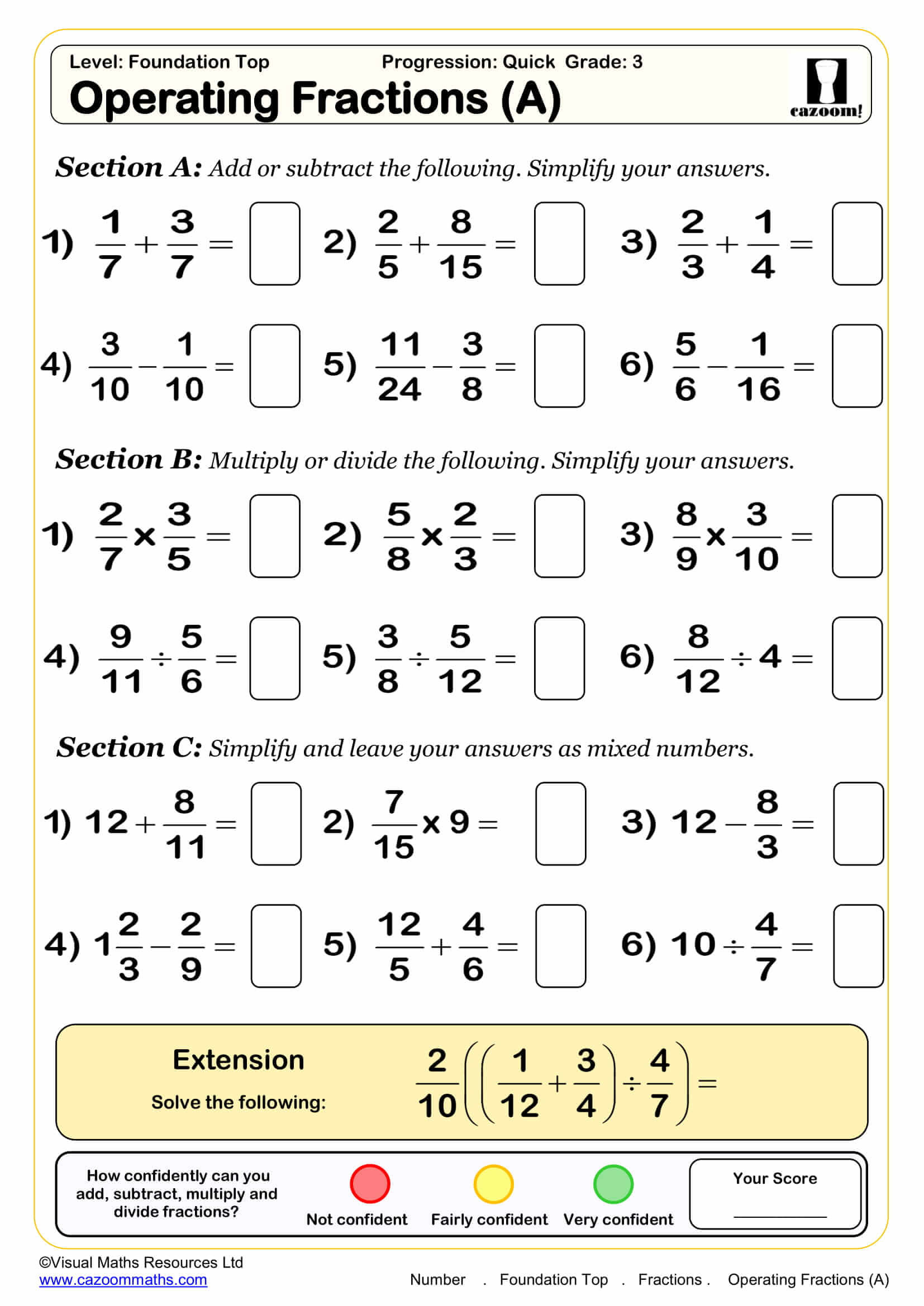 Adding Fractions Worksheet Pdf Maths Worksheets Ks3 Ks4 Printable Pdf for Year Olds Number