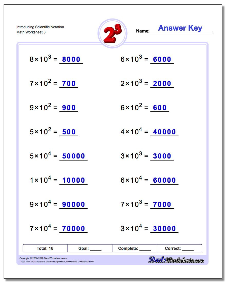 Adding Subtracting Scientific Notation Worksheet Powers Of Ten and Scientific Notation