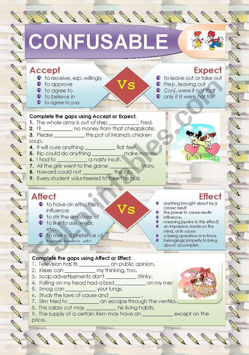Affect Vs Effect Worksheet Confusables Accept Expect Affect Effect Esl