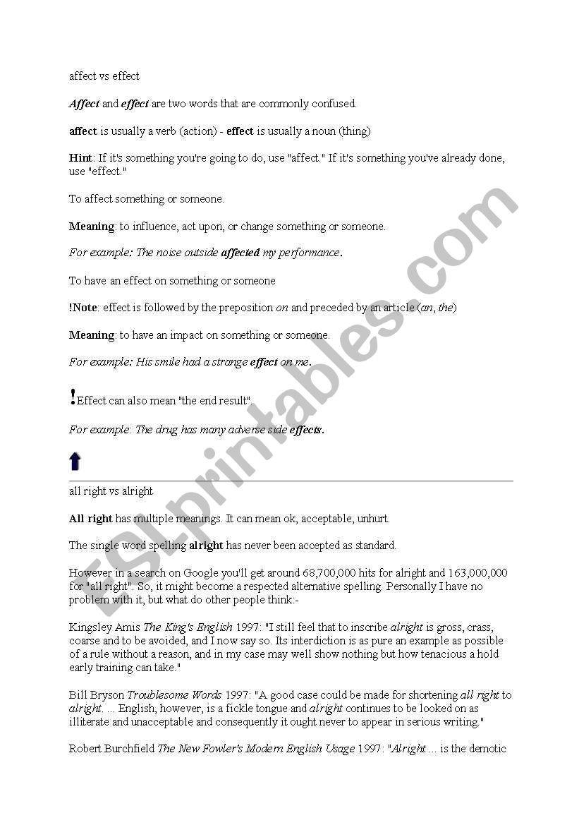 Affect Vs Effect Worksheet English Worksheets Confusing Words