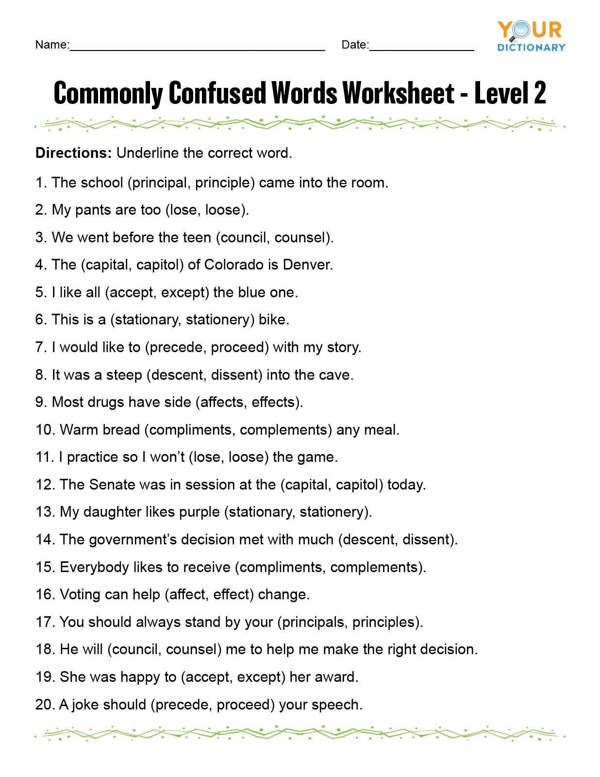 Affect Vs Effect Worksheet Monly Confused Words Worksheet