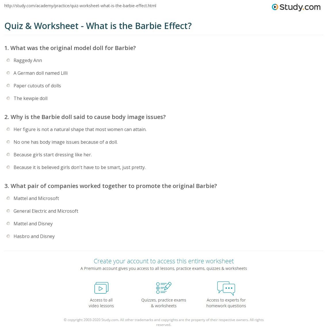 Affect Vs Effect Worksheet Quiz & Worksheet What is the Barbie Effect