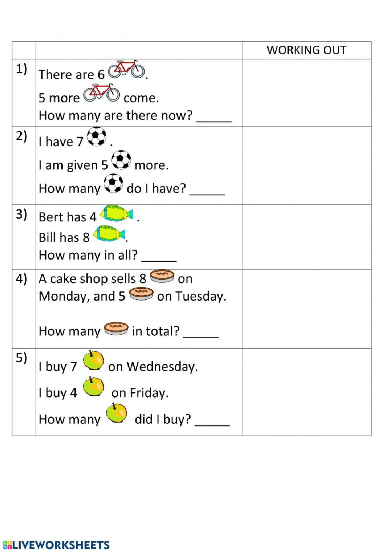 Age Word Problems Worksheet Add Word Problems Interactive Worksheet