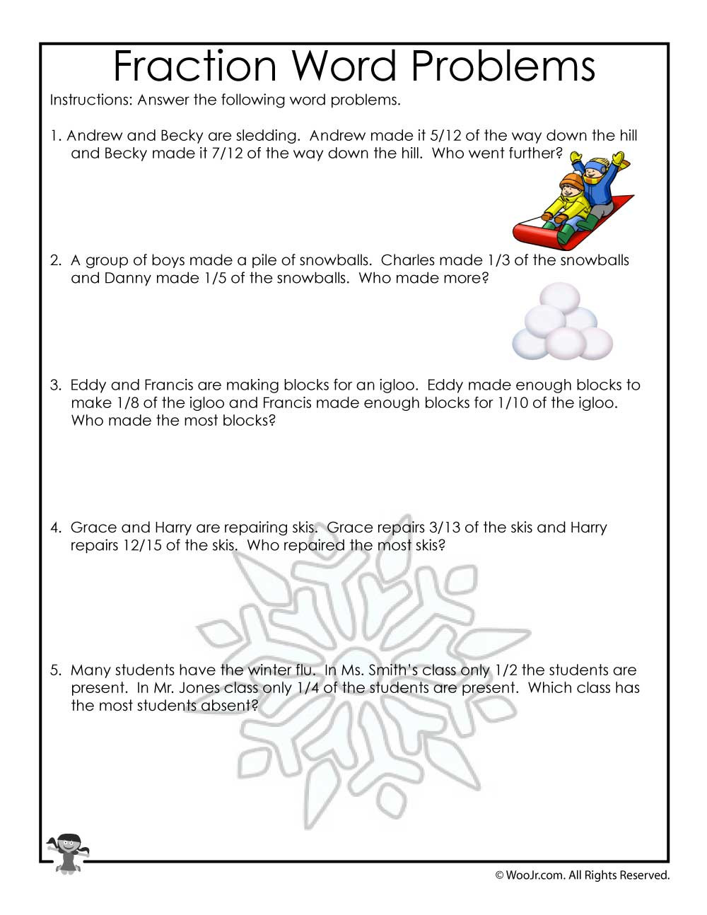 Age Word Problems Worksheet January Fractions Word Problems Worksheet