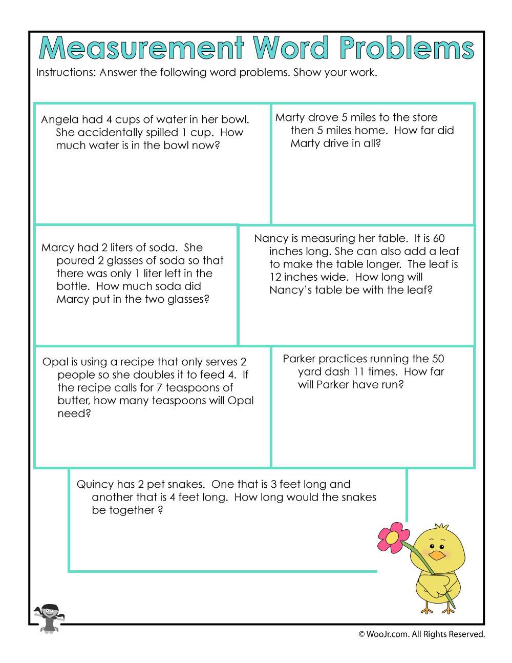 Age Word Problems Worksheet Math Measurement Word Problems Worksheet