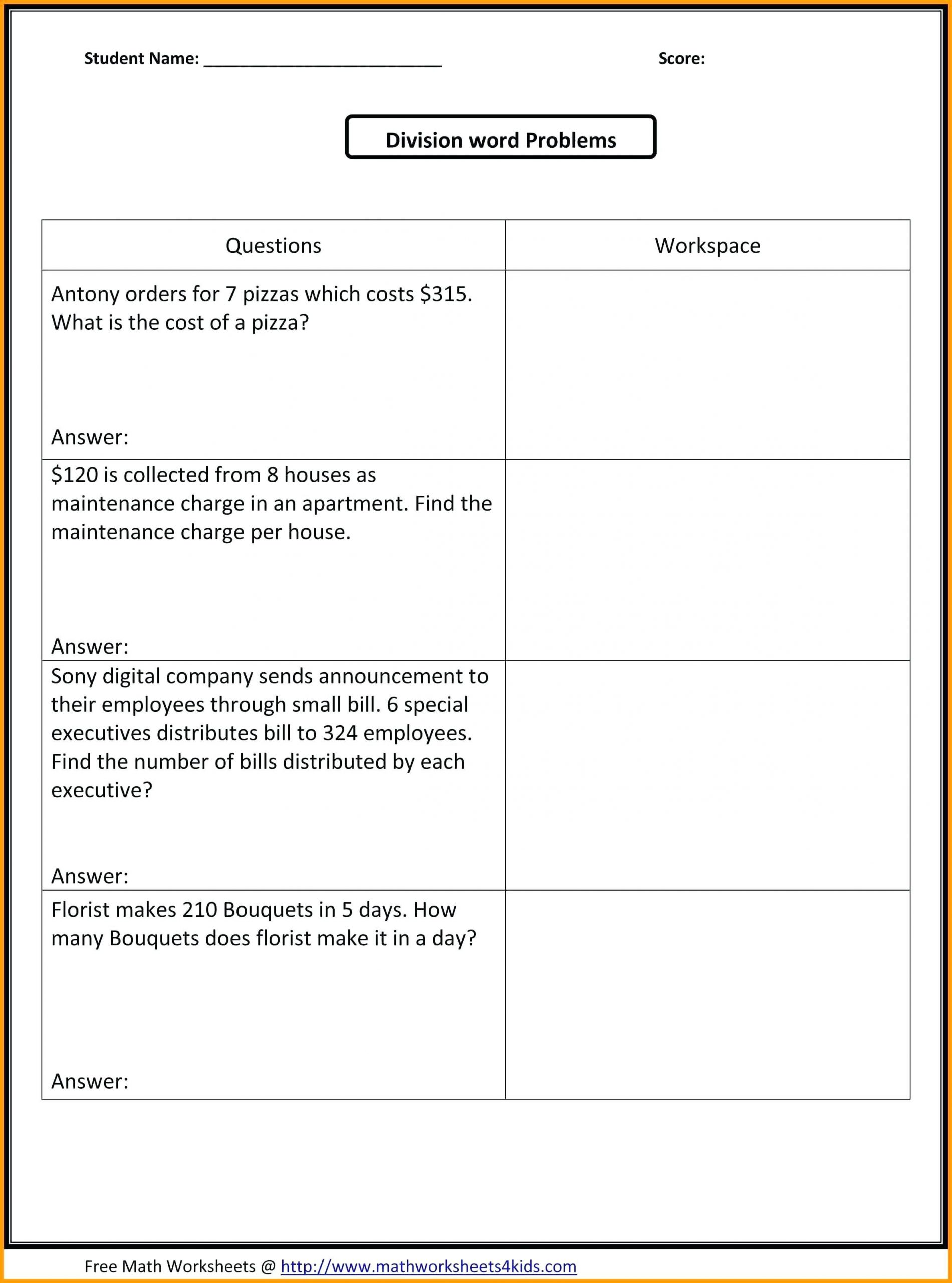 Age Word Problems Worksheet Third Grade Division Mon Core Wroksheets Google Search