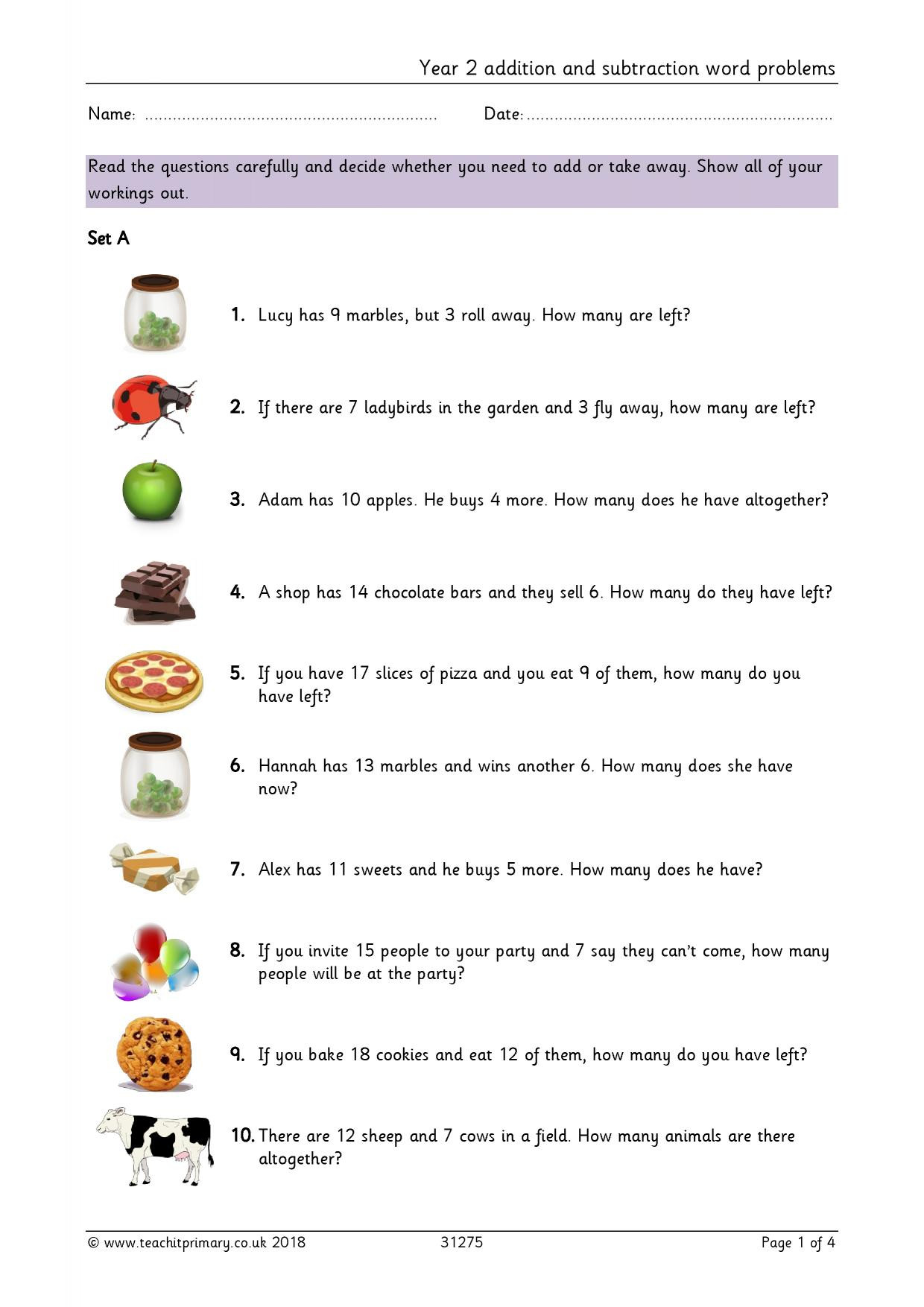 Age Word Problems Worksheet Year 2 Addition and Subtraction Word Problems