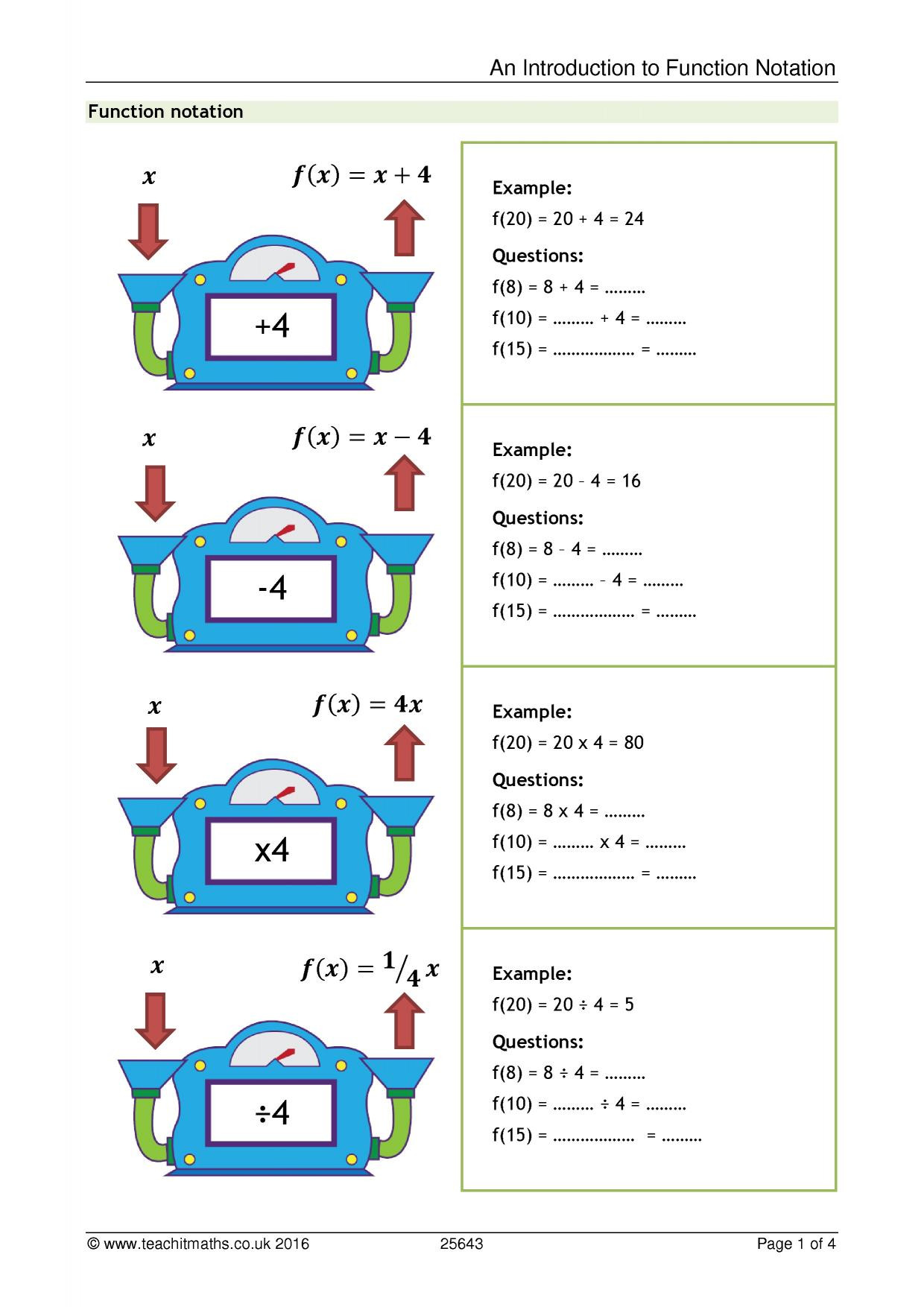 Algebra 1 Function Notation Worksheet An Introduction to Function Notation