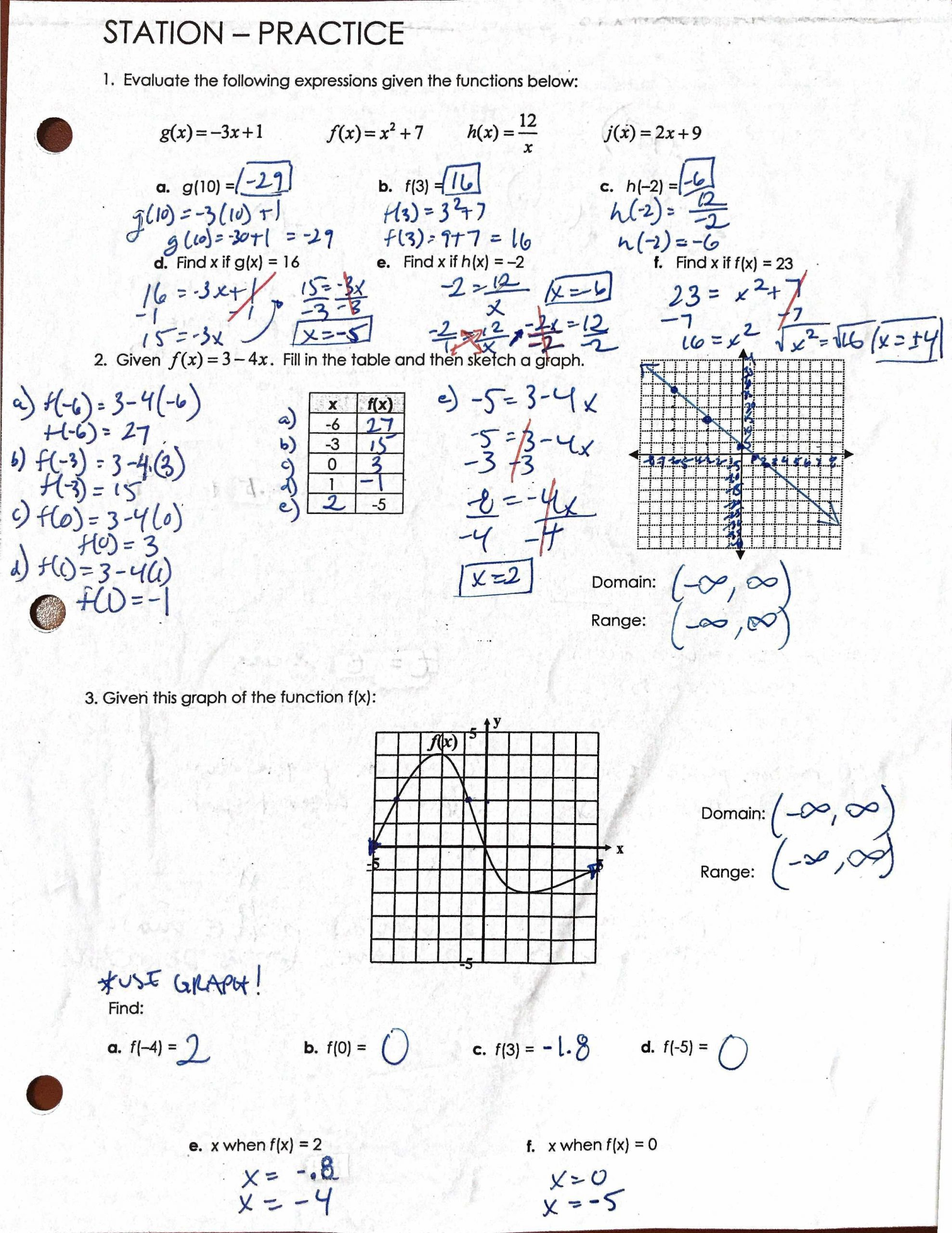 Algebra 1 Function Notation Worksheet Culver City High School