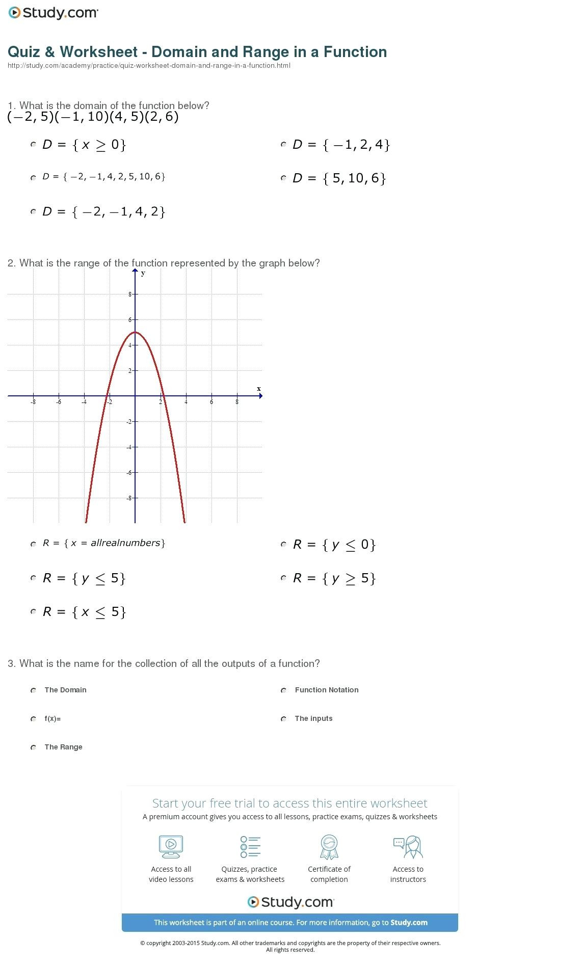 Algebra 1 Function Notation Worksheet Domain and Range Interval Notation Worksheet with Answers