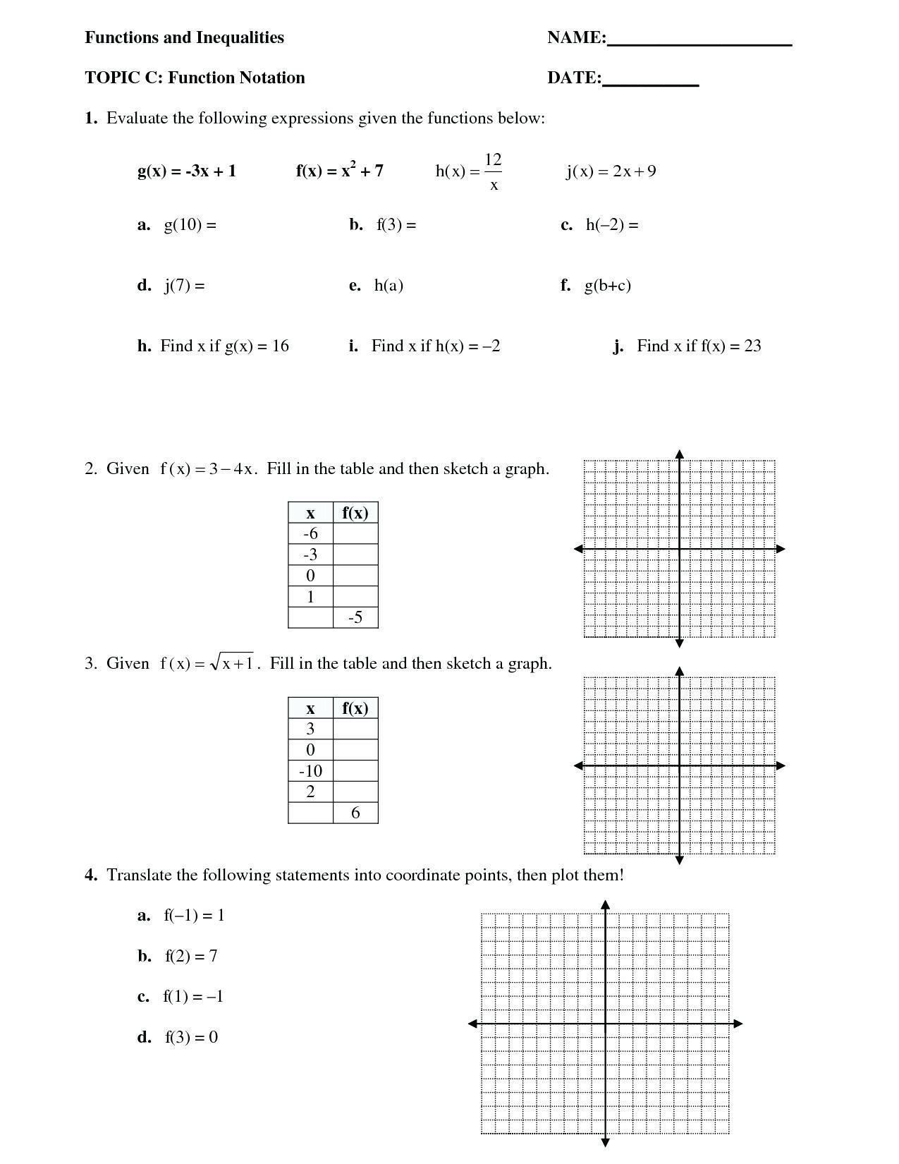 Algebra 1 Function Notation Worksheet Posite Function Worksheet