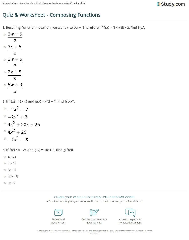 Algebra 1 Function Notation Worksheet Quiz & Worksheet Posing Functions