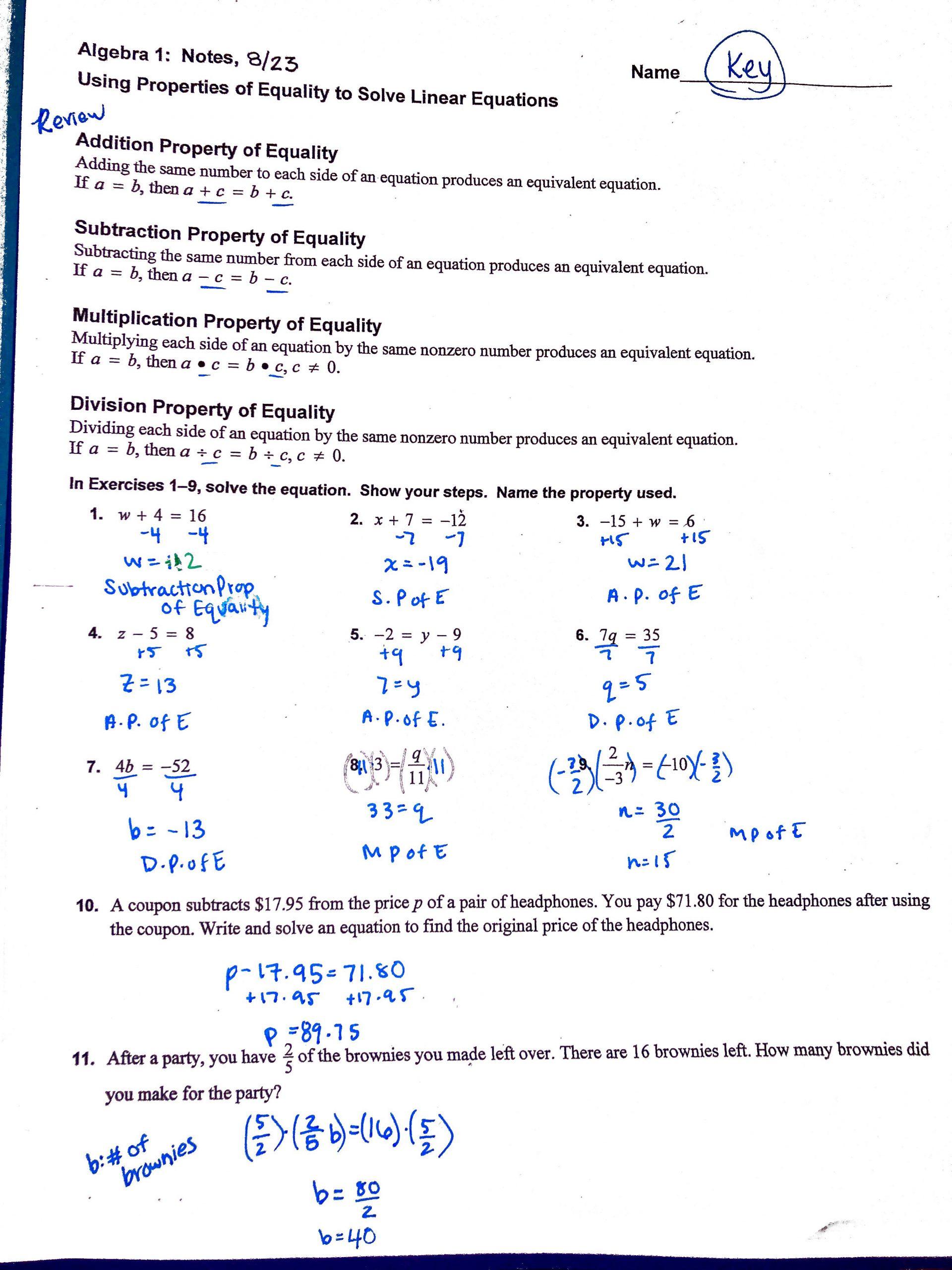 Algebra 1 Review Worksheet Heard Grace Algebra 1