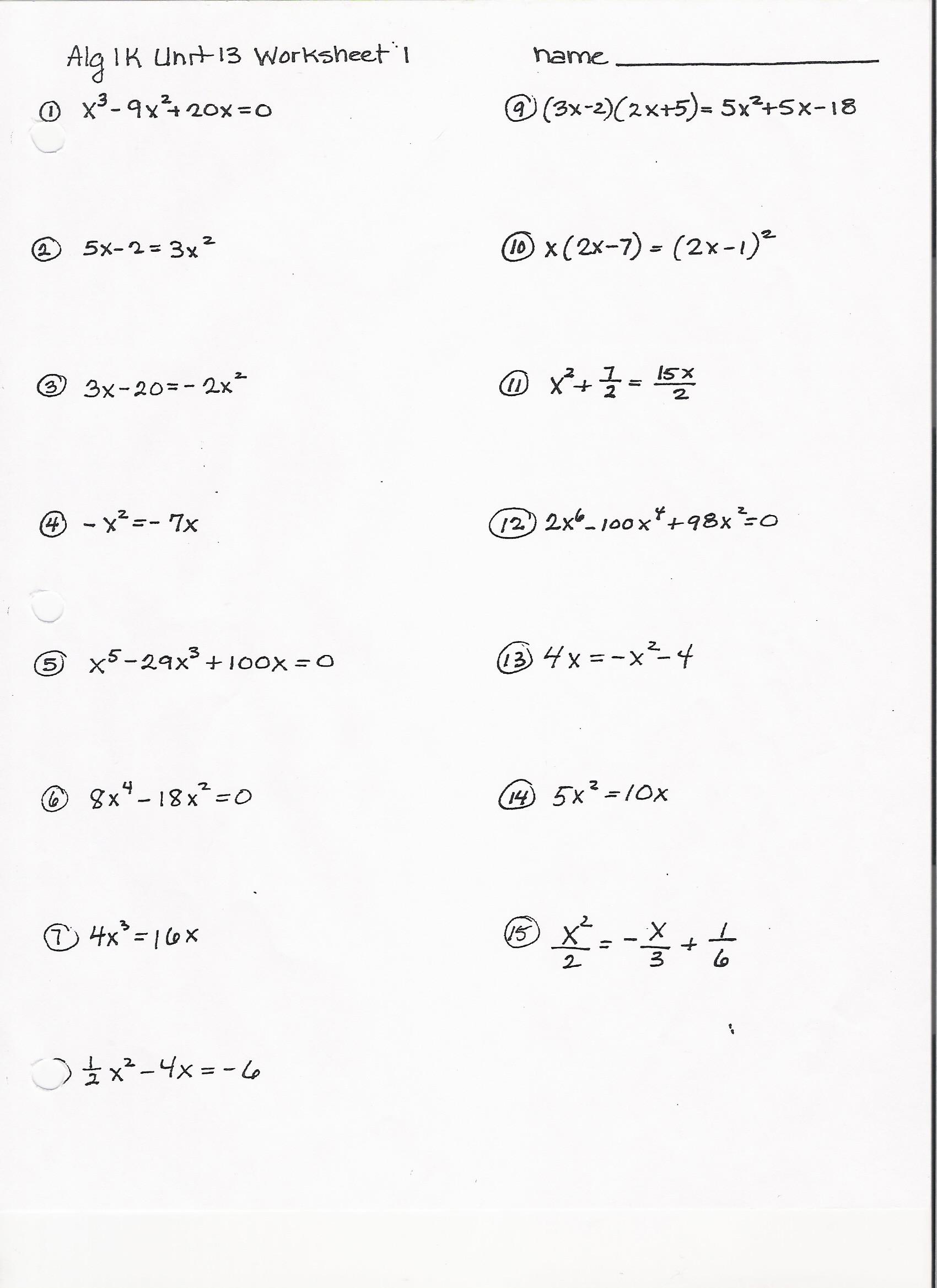Algebra 1 Review Worksheet Worksheets Algebra More