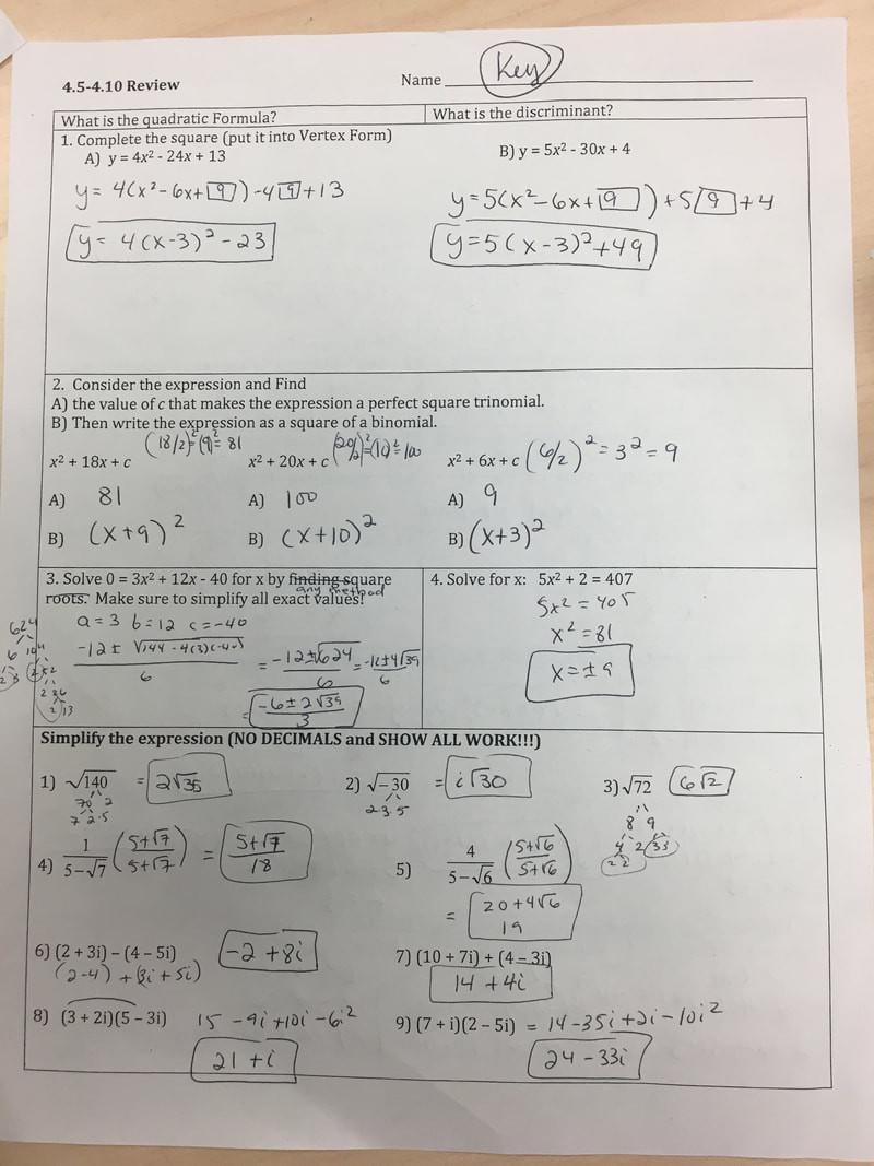 Algebra 2 Review Worksheet Algebra 2