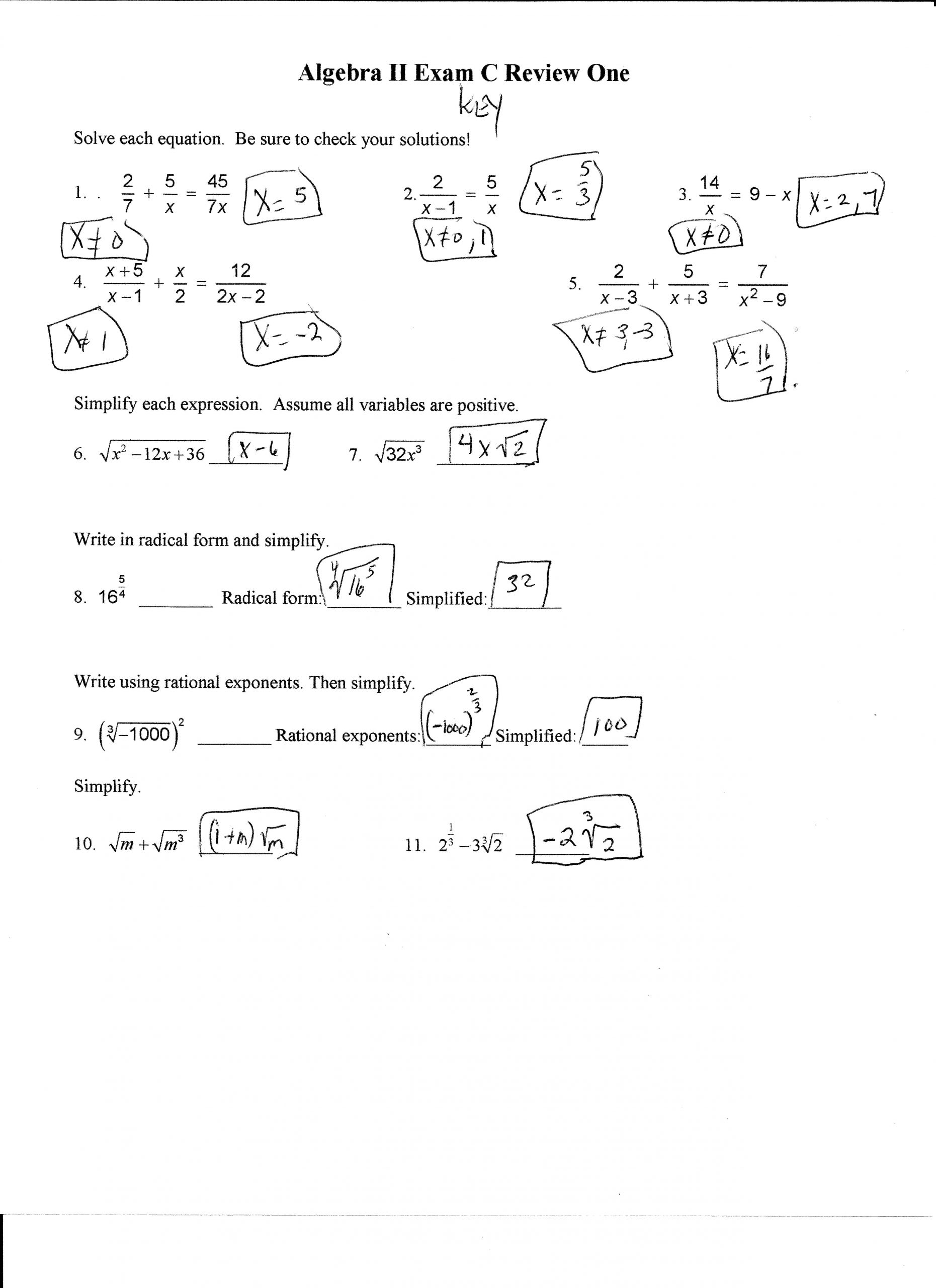 Algebra 2 Review Worksheet Algebra Ii 2013 2014