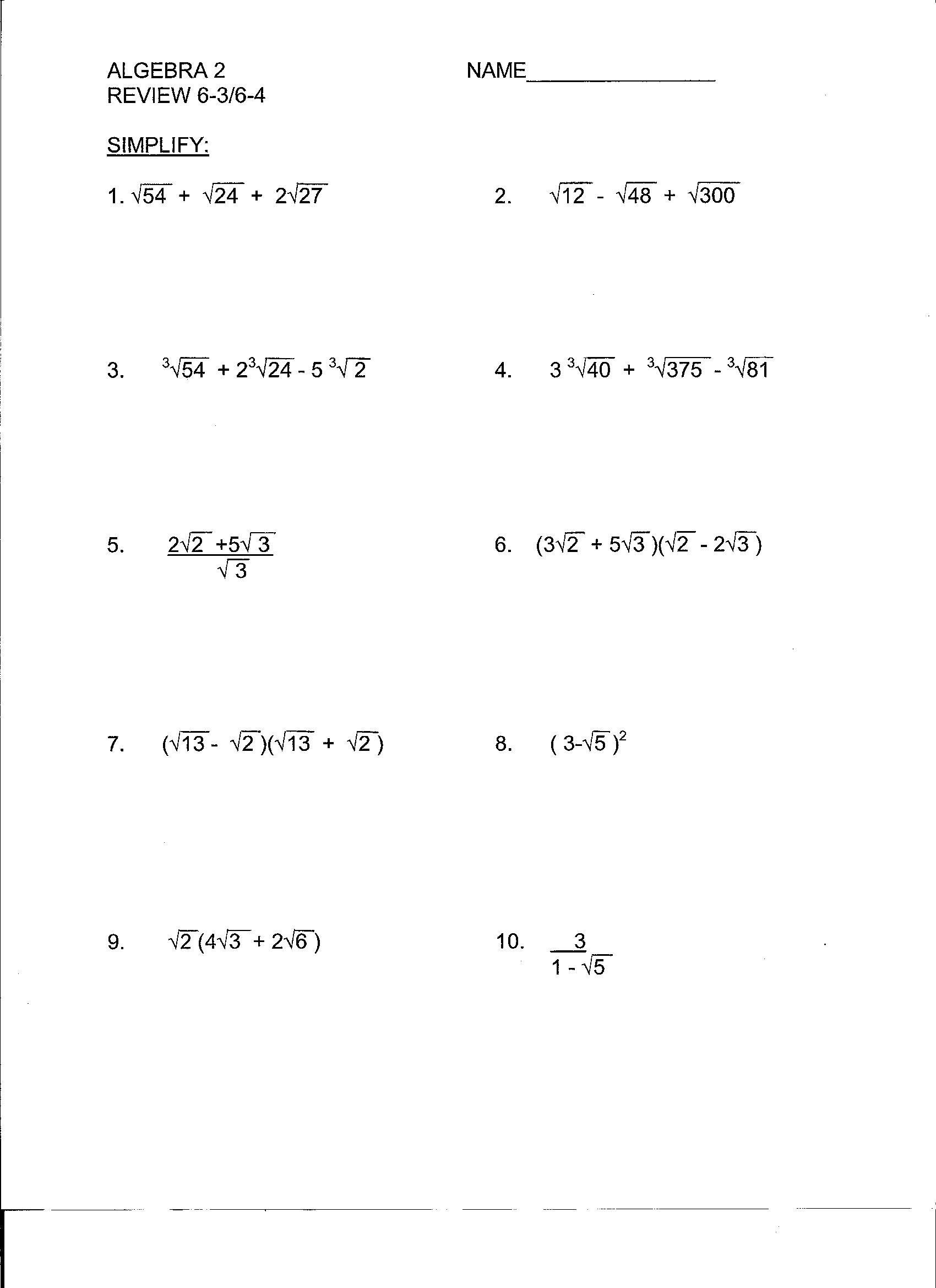 Algebra 2 Review Worksheet Beunier Smith Yvette College Algebra Documents