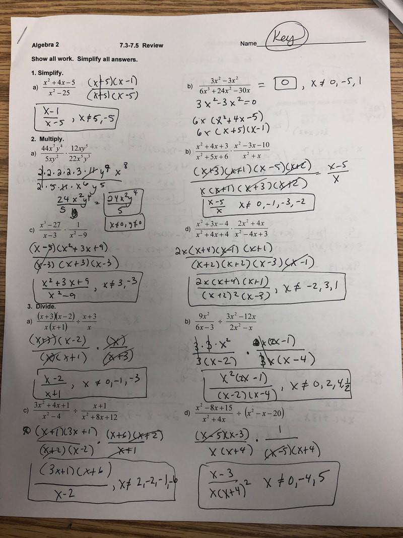 Algebra 2 Review Worksheet Honors Algebra 2 2019 2020