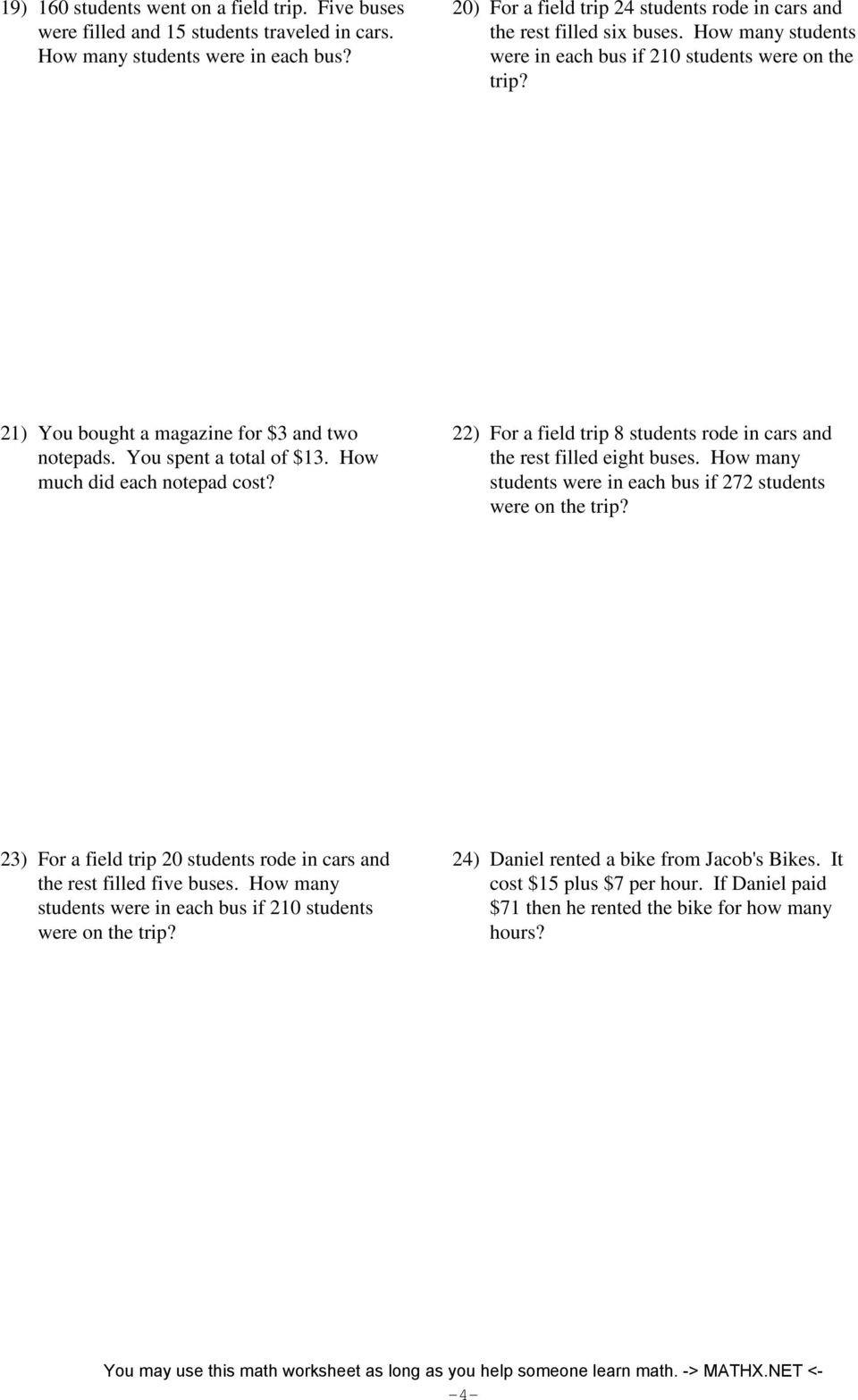 Algebra Word Problems Worksheet Pdf Two Step Equations Word Problems Integers Pdf Free