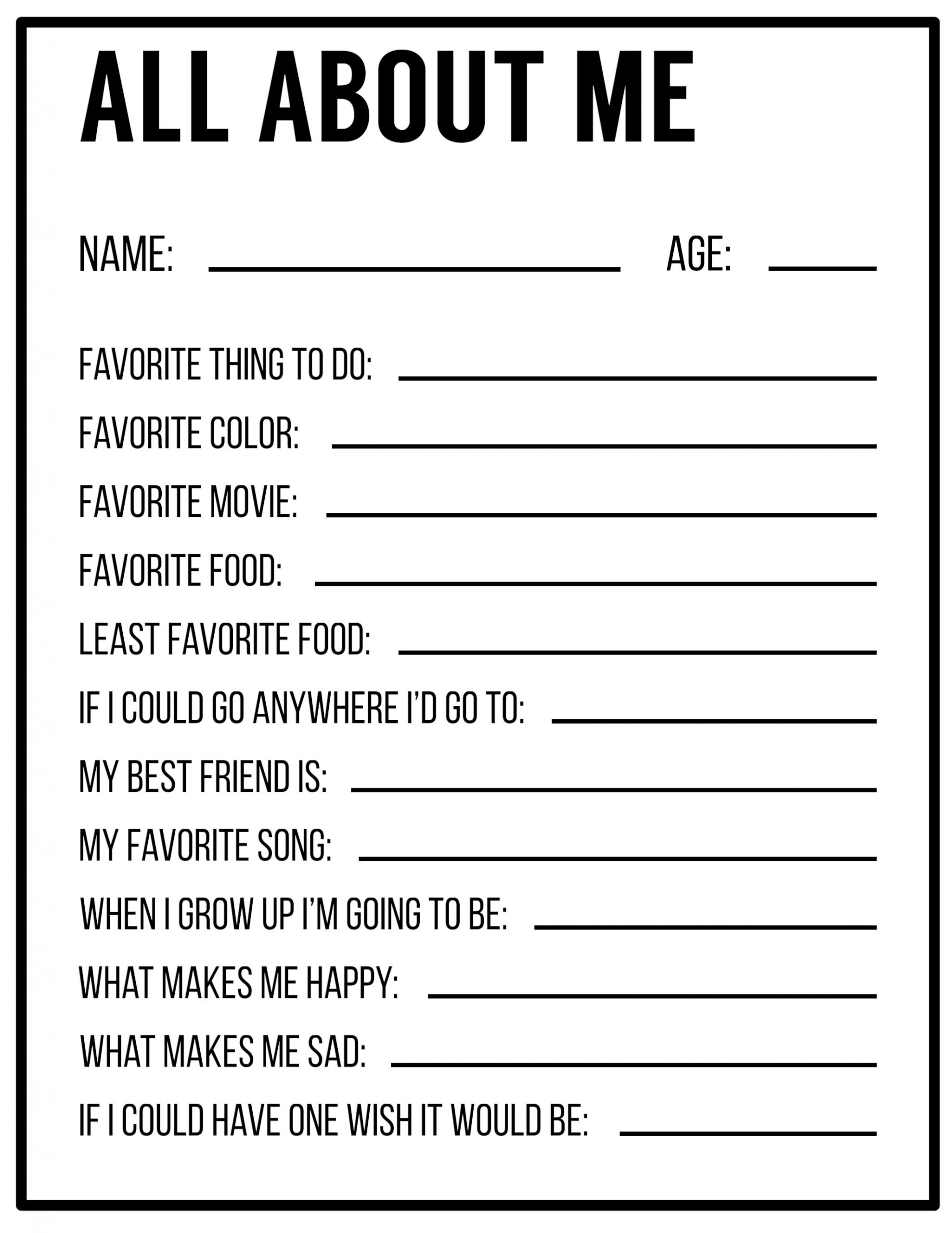 All About Me Printable Worksheet All About Me Printables Interview Template