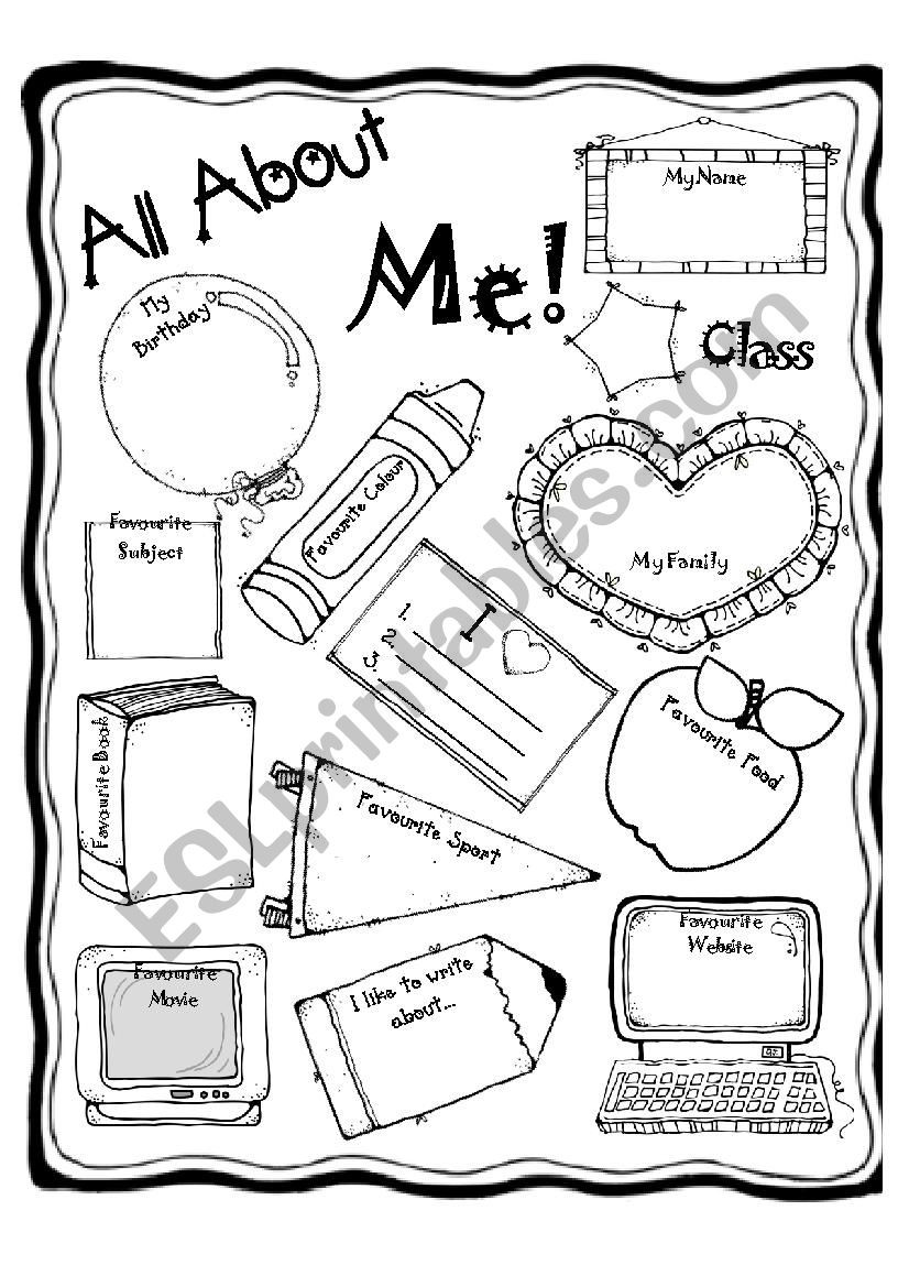 All About Me Worksheet All About Me Esl Worksheet by Waterforelephants
