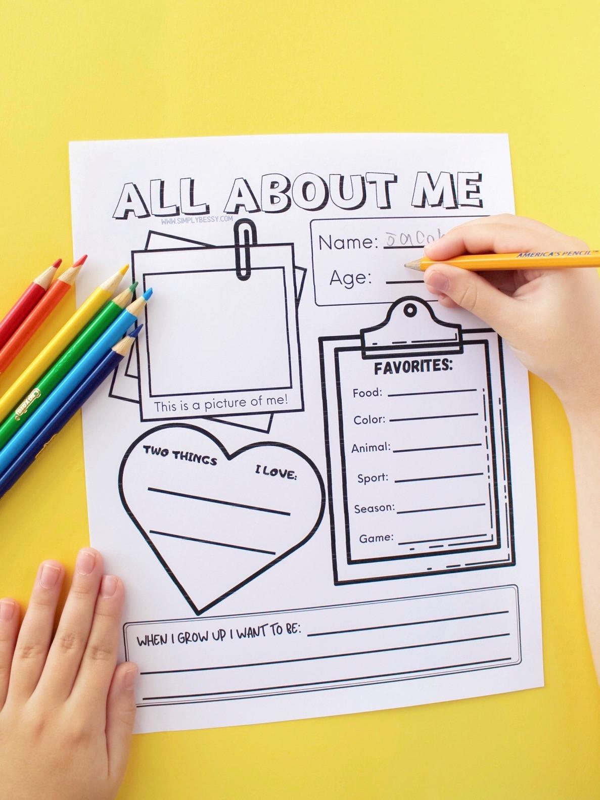 All About Me Worksheet All About Me Worksheet Free Printable