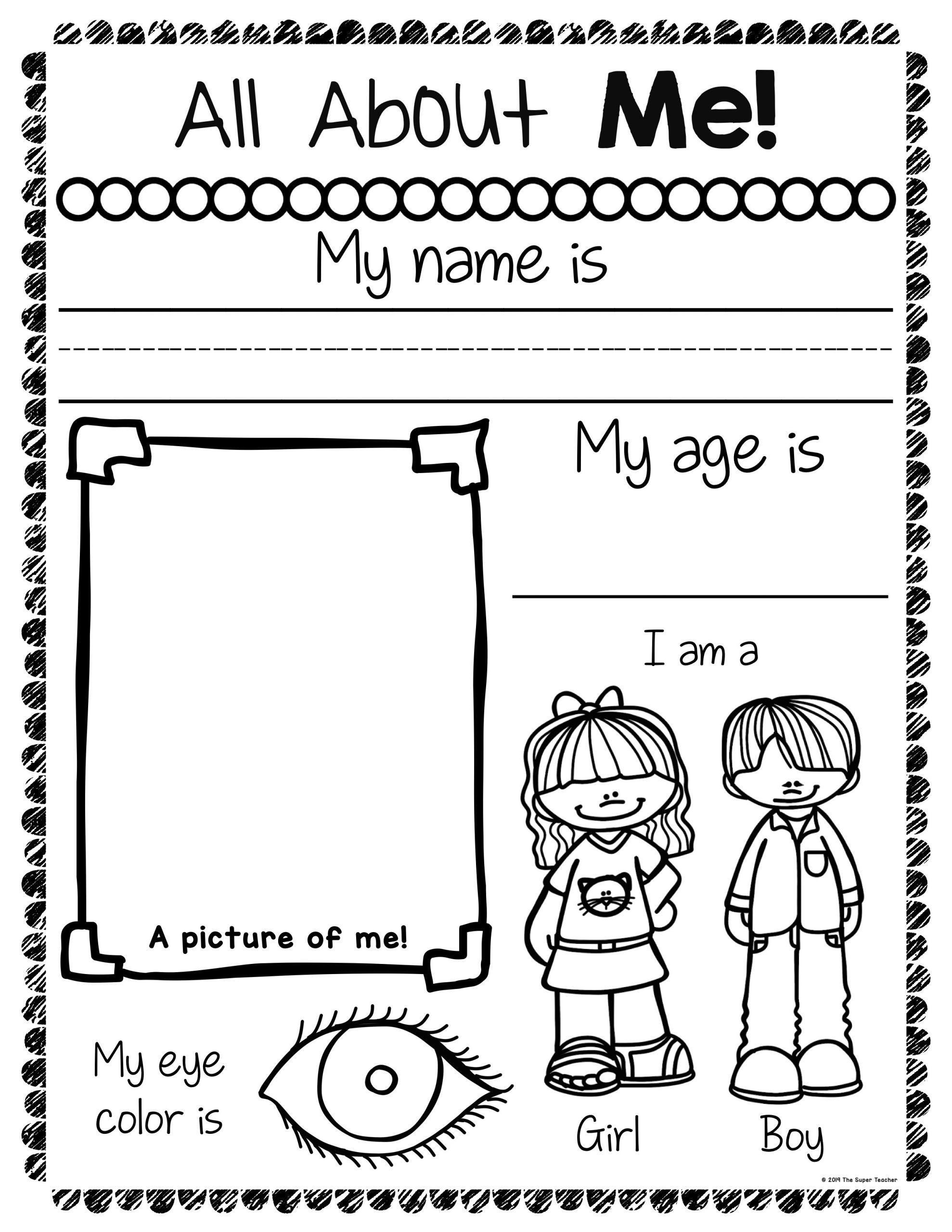 All About Me Worksheet All About Me Worksheets