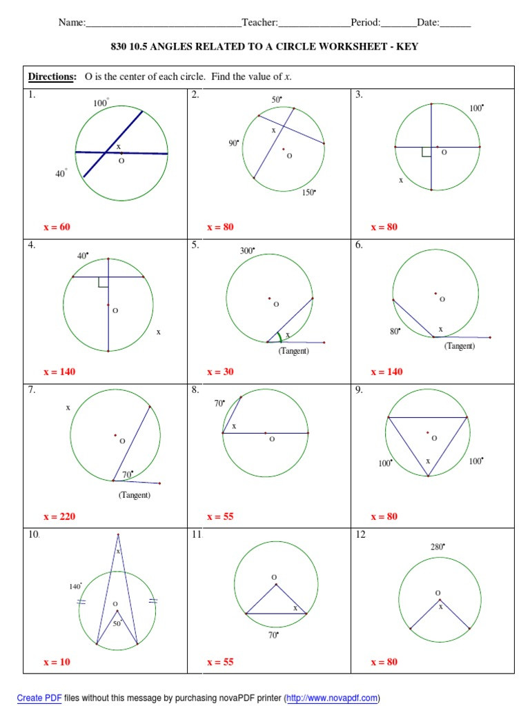 Angles In A Circle Worksheet 830 10 5 Worksheet Answers